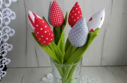 Tulipany z bawełny bukiet czerwony Walentynki
