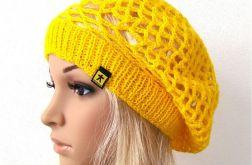 żółty ażurowy beret, na wiosnę:)