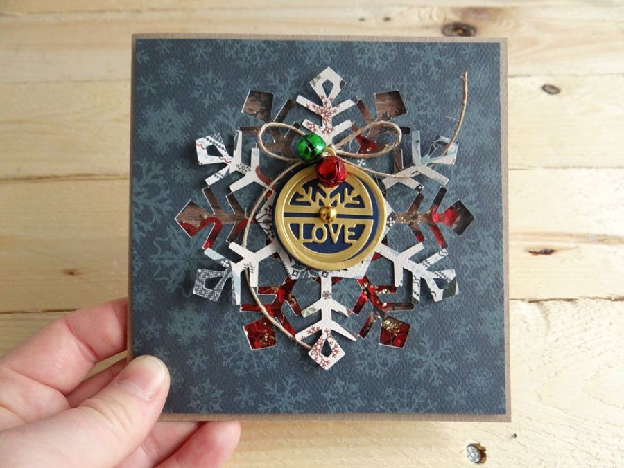Kartka świąteczna ŚNIEŻYNKA SHAKER - Front