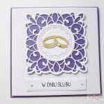 Kartka W DNIU ŚLUBU fioletowo-biała - Biało-fioletowa kartka na Ślub
