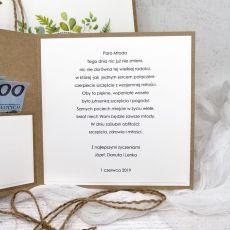 Kartka na ślub eko minimalistyczna w pudełku