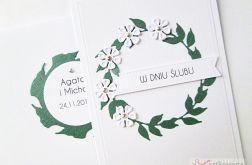 Kartka W DNIU ŚLUBU biało-zielona #2