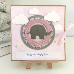 """Kartka ze słonikiem """"szczęścia każdego dnia""""#"""