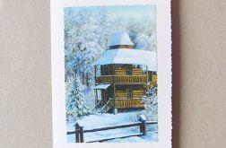 Kartka świąteczna - zimowy pejzażyk nr 25