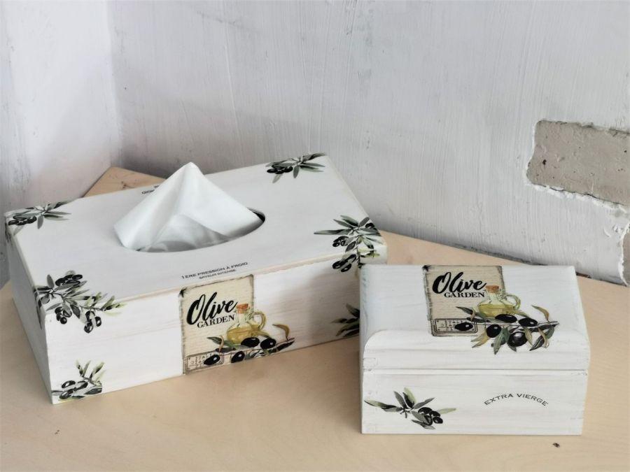 Chustecznik i herbaciarka- komplet # - herbaciarka wzór oliwki