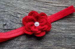 Opaska do włosów kwiatek z perełką red