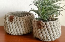 Koszyk ze sznurka bawełnianego beżowy 2sztuki