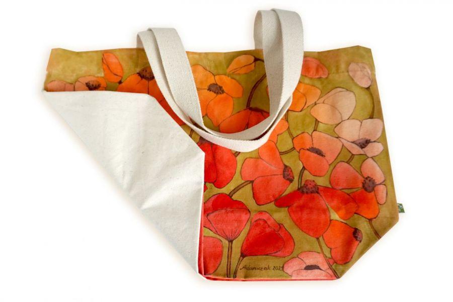Ekologiczna ręcznie malowana torba na zakupy -