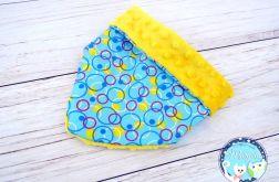 Apaszka, chustka, bandana - niebieska, kolorowe koła + żółte Minky