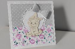 Kartka na chrzest narodziny roczek dziewczynka