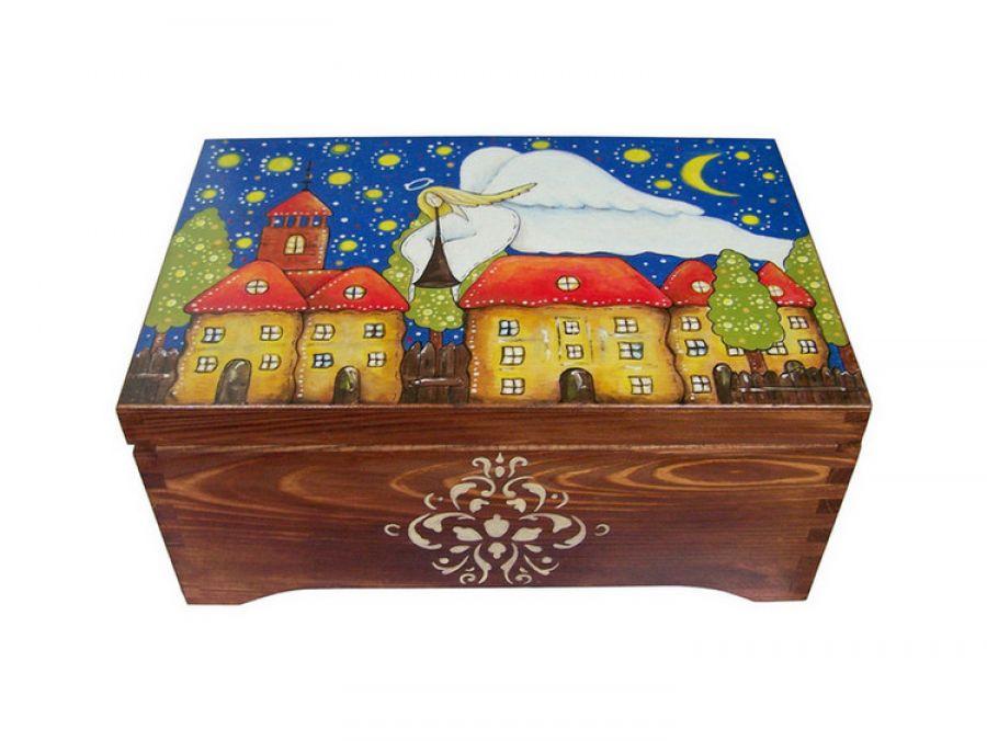 Kufer malowany ręcznie Anioł opiekun