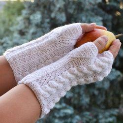 Białe rękawiczki mitenki  - długie
