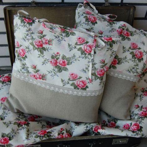 Angielskie róże i len - poszewki