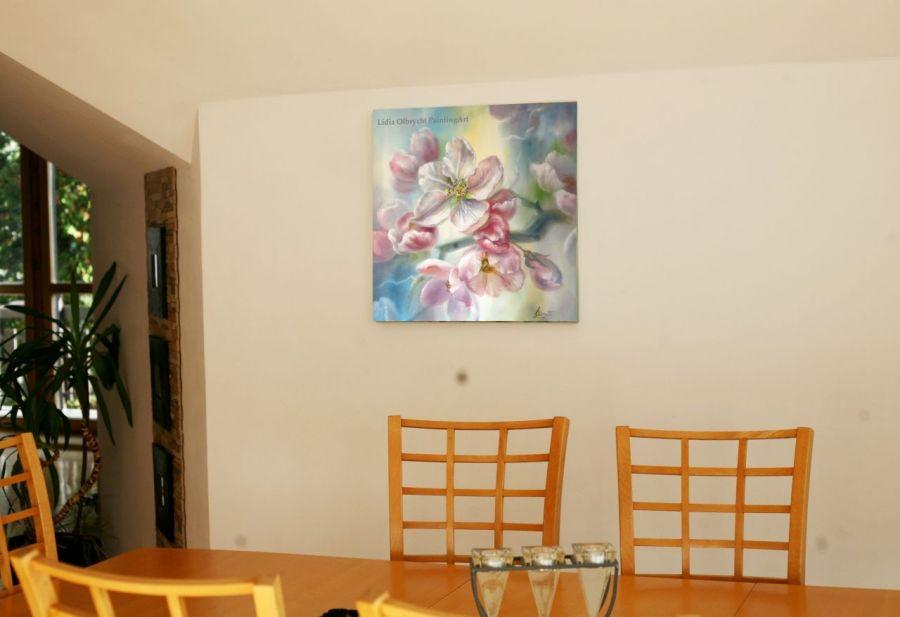 Gałązka Jabłoni, ręcznie malowany, olej