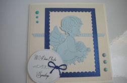 Pamiątka chrztu- kartka z aniołkiem
