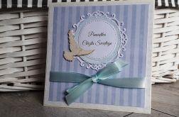 Kartka na Chrzest niebieska gołąbek handmade