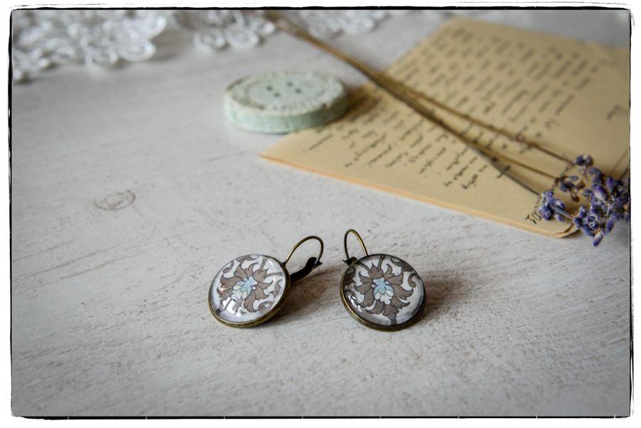 Kolczyki szklany kaboszon Secesyjna elegancja -