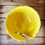 Miska na włóczkę żółta