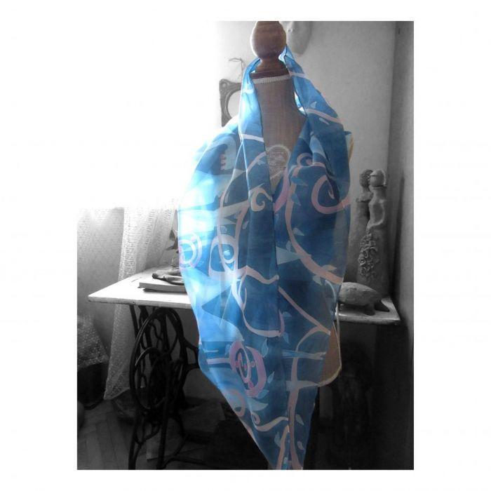 Komin jedwabny Roślinny Niebiesko-Różowy - Jedwabny malowany komin