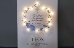 Pamiątka Chrztu obraz LED modlitwa złoty