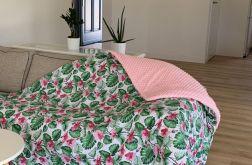 Koc lilia i różowy minky 150x200