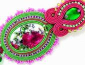 Wisior sutasz PEONIA różowy zielony elegancki