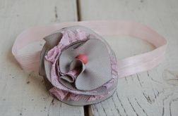 Retro opaska niemowlęca - Szary z różem