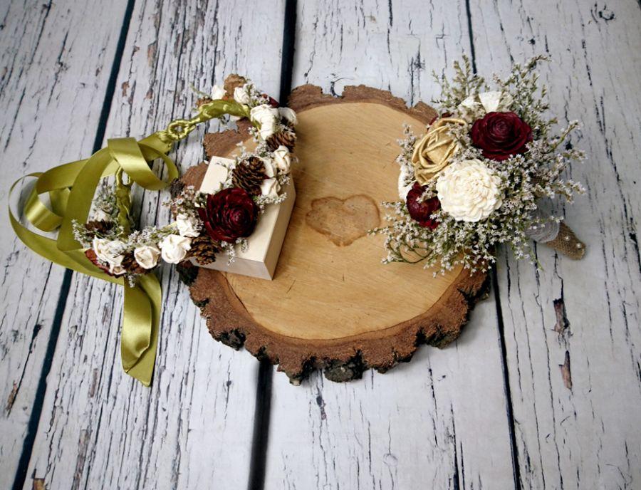 Wianek ślubny rustykalny burgund