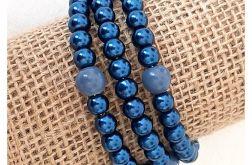 3943 granatowa bransoletka szklane perły