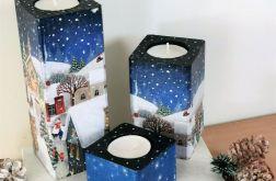 Świeczniki świąteczne – zimowe miasteczko