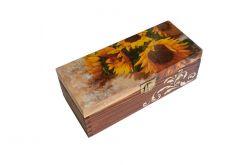 Słoneczniki szkatułka z trzema przegrodami
