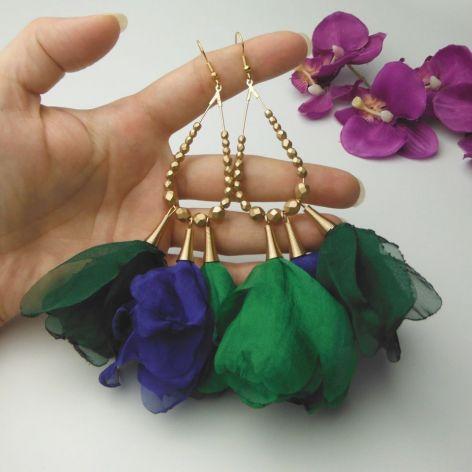Szyfonowe tiul kolczyki szmaragdowe zielone