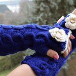Szafirowe rękawiczki mitenki  - długie