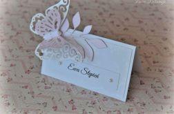 Winietki podwójny motyl pudrowy róż