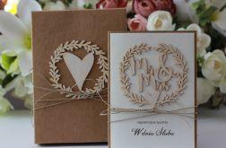 Ślub rustykalnie - kartka z pudełkiem 1a