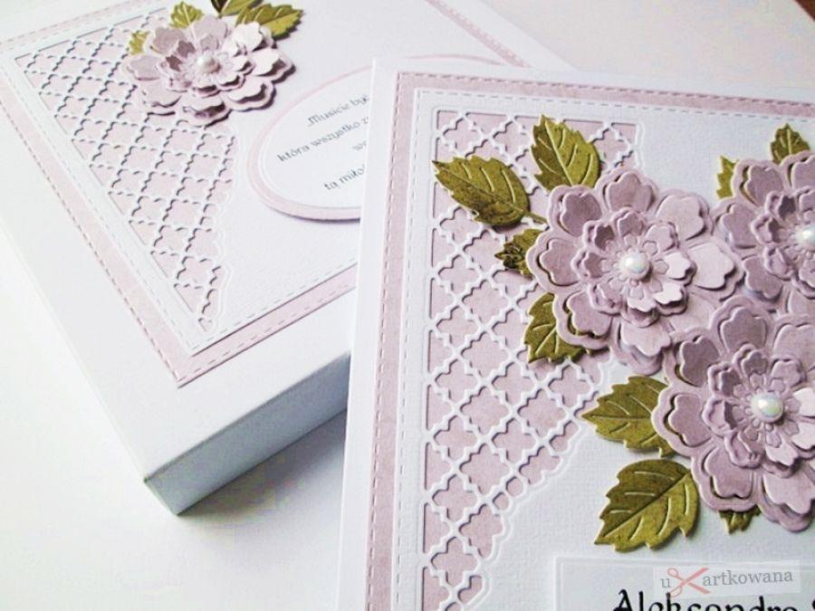 Kartka ŚLUBNA jasnoróżowo-biała /Z - Kartka na ślub z ręcznie robionymi kwiatami