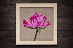 Różowa róża malarstwo płótno rama drewniana