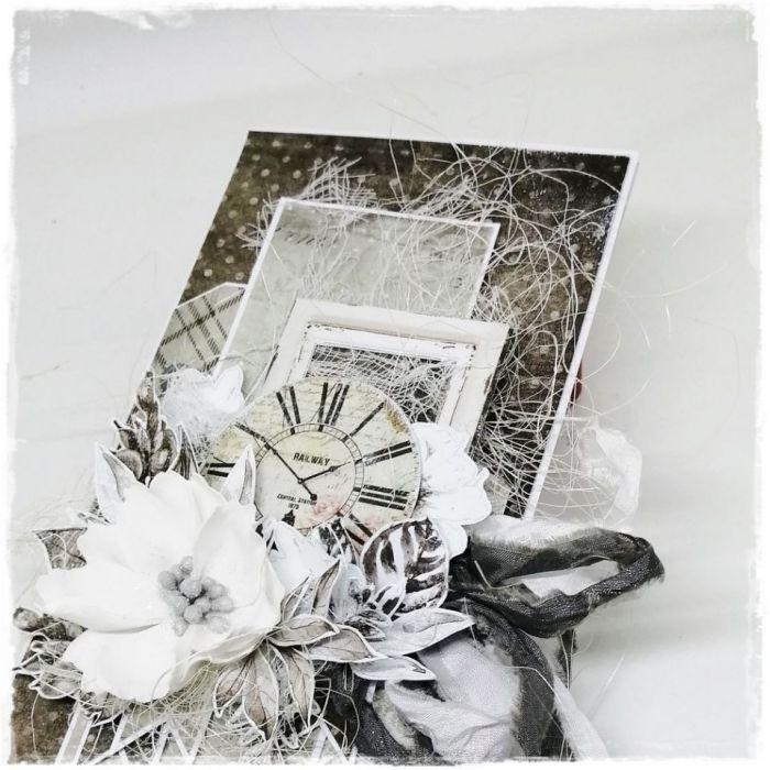 Kartka z zegarem dla Niej - ręcznie robiony kwiat...