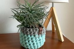 Koszyk ze sznurka bawełnianego mięta-szary 2s