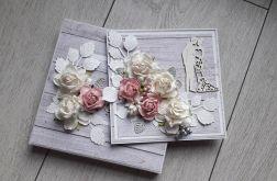 Kartka ślubna wraz z pudełkiem kwiaty deski
