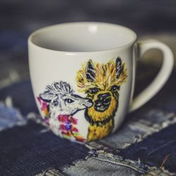 Kubek artystyczny malowane Lamy