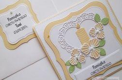 Kartka PAMIĄTKA CHRZTU biało-brzoskwiniowa