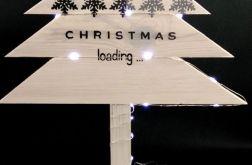 Drewniana, malowana choinka Led