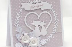 Kartka ślubna Para kotów w sercu ZS2001