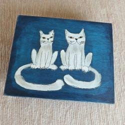 Pudełko malowane duże - Koty w granatowym