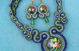 Tęczowy z Kryształami- naszyjnik i kolczyki