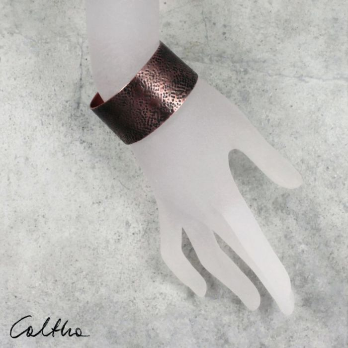 Ślady - miedziana bransoletka 201218-02 - szeroka bransoleta