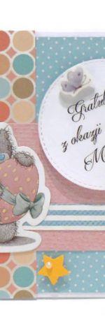 Kartka gratulacje z narodzin miś z jajem