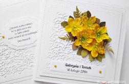Kartka ŚLUBNA z żółtymi kwiatami