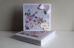 Kartka ślubna szaro-różowa w pudełku